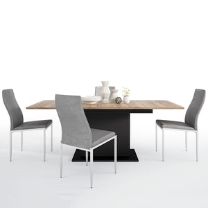 Brolo Range -Dining set package Brolo Extending Dining Table + 6 Milan High Back Chair Grey.