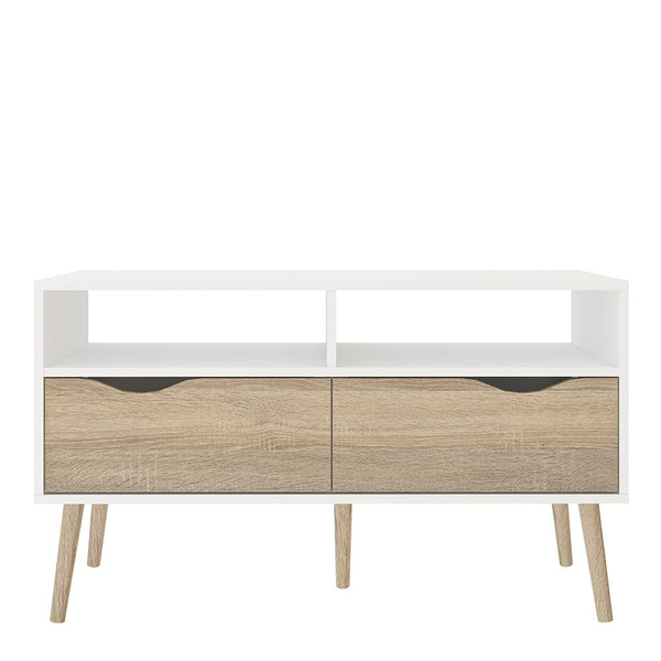 Oslo Range- TV Unit 2 Drawers in White and Oak