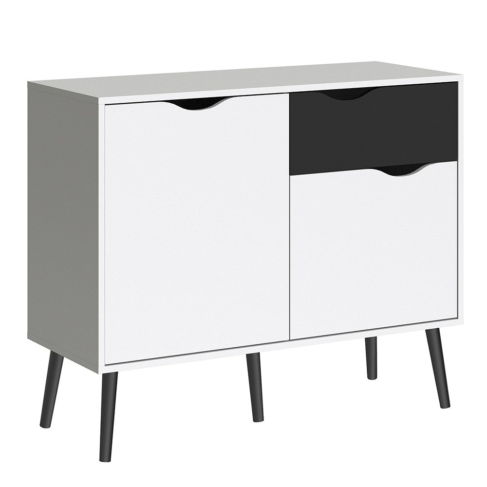 Oslo Range- Sideboard - Small - 1 Drawer 2 Doors in White and Black Matt
