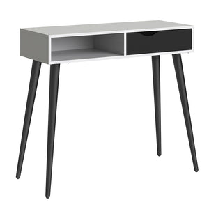 Oslo Range- Console Table 1 Drawer 1 Shelf in White and Black Matt