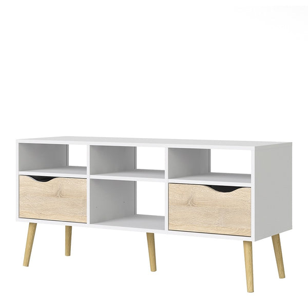 Oslo Range- TV Unit - Wide - 2 Drawers 4 Shelves in White and Oak