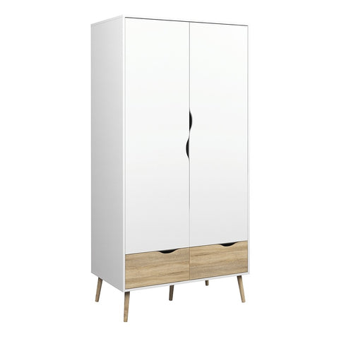 Oslo Range- Wardrobe 2 Doors 2 Drawers in White and Oak