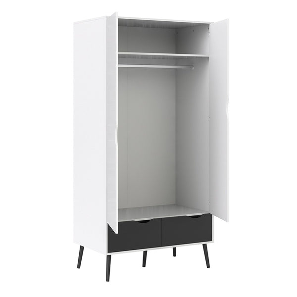 Oslo Range- Wardrobe 2 Doors 2 Drawers in White and Black Matt
