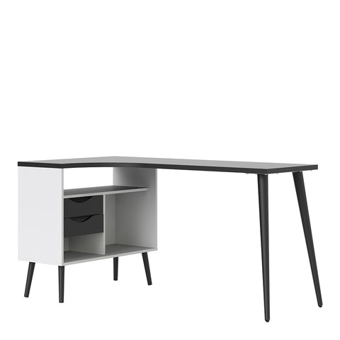 Oslo Range- Desk 2 Drawer in White and Black Matt
