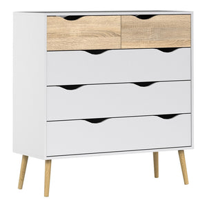 Oslo Range- Chest of 5 Drawers (2+3) in White and Oak