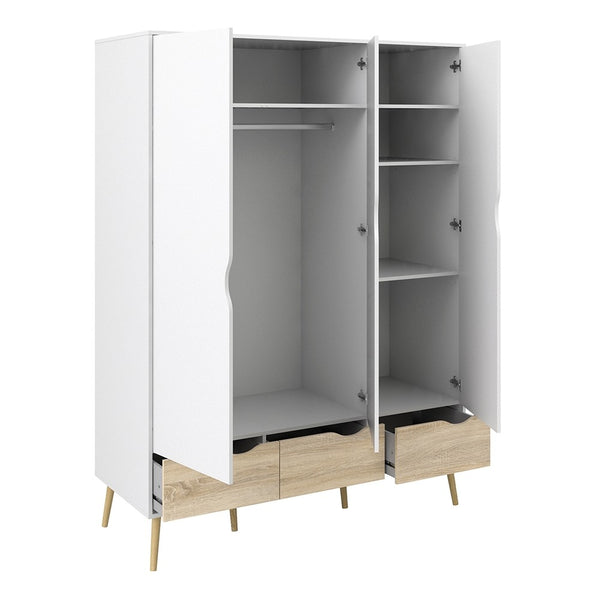 Oslo Range- Wardrobe - 3 Doors 3 Drawers in White and Oak