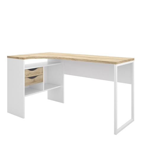 Function Plus Range- Corner Desk 2 Drawers in White and Oak