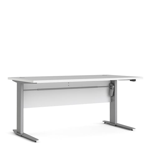 Prima Range- Prima Desk 150 cm in White with Height adjustable legs with electric control in Silver grey steel