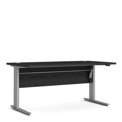 Prima Range- Prima Desk 150 cm in Black woodgrain with Height adjustable legs with electric control in Silver grey steel