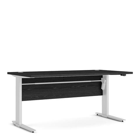 Prima Range- Prima Desk 150 cm in Black woodgrain with Height adjustable legs with electric control in White