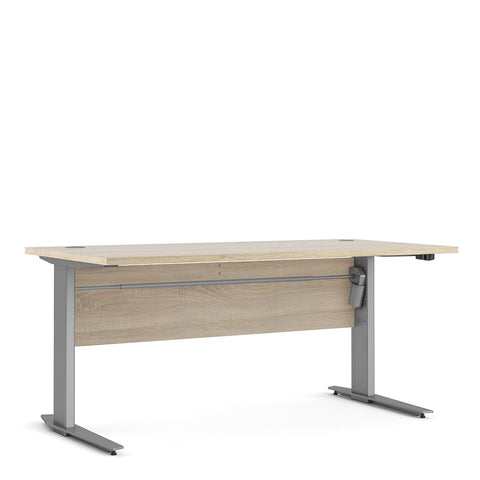 Prima Range- Prima Desk 150 cm in Oak with Height adjustable legs with electric control in Silver grey steel
