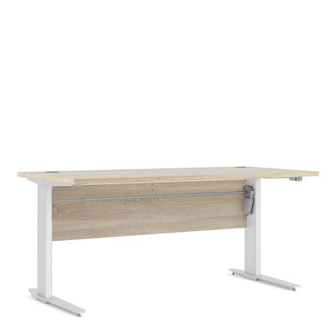 Prima Range- Prima Desk 150 cm in Oak with Height adjustable legs with electric control in White