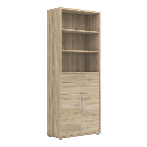 Prima Range- Prima Bookcase 5 Shelves with 2 Drawers and 2 Doors in Oak