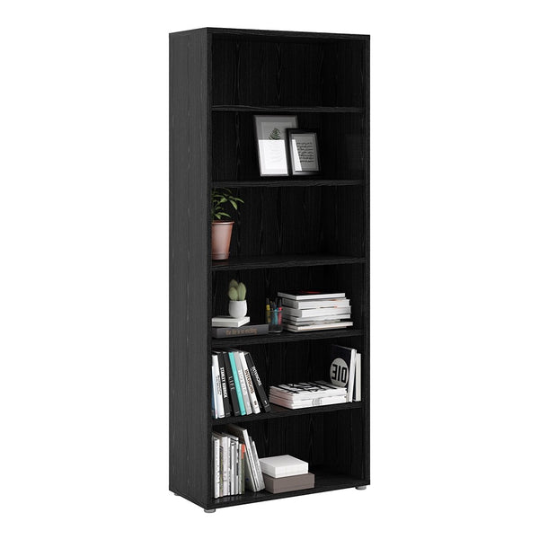 Prima Range- Prima Bookcase 5 Shelves in Black woodgrain