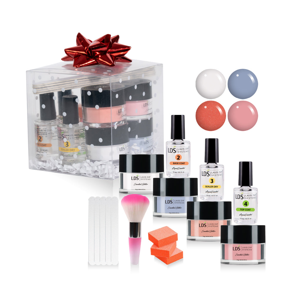 Trial Color Dip Kit: 5 Mini Files & 3 Buffers, 1 Mini Brush,3 Dipping Powder Essentials, CLEAR, LDS85,114,123: 0.5oz