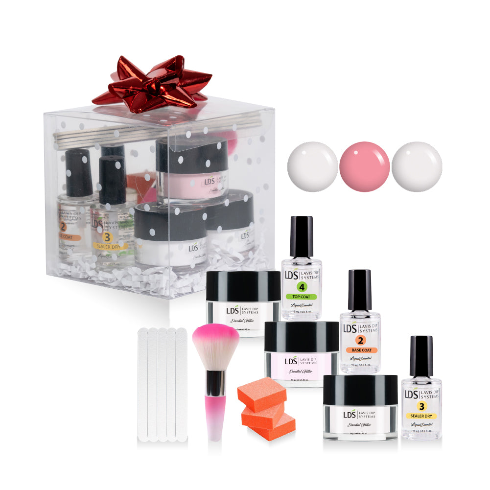 Pink & White Starter Kit: 5 Mini Files & 3 Buffers, Mini Brush, Molding, 3 Dipping Powder Essentials, CLEAR, French White, Natural Pink 0.5oz