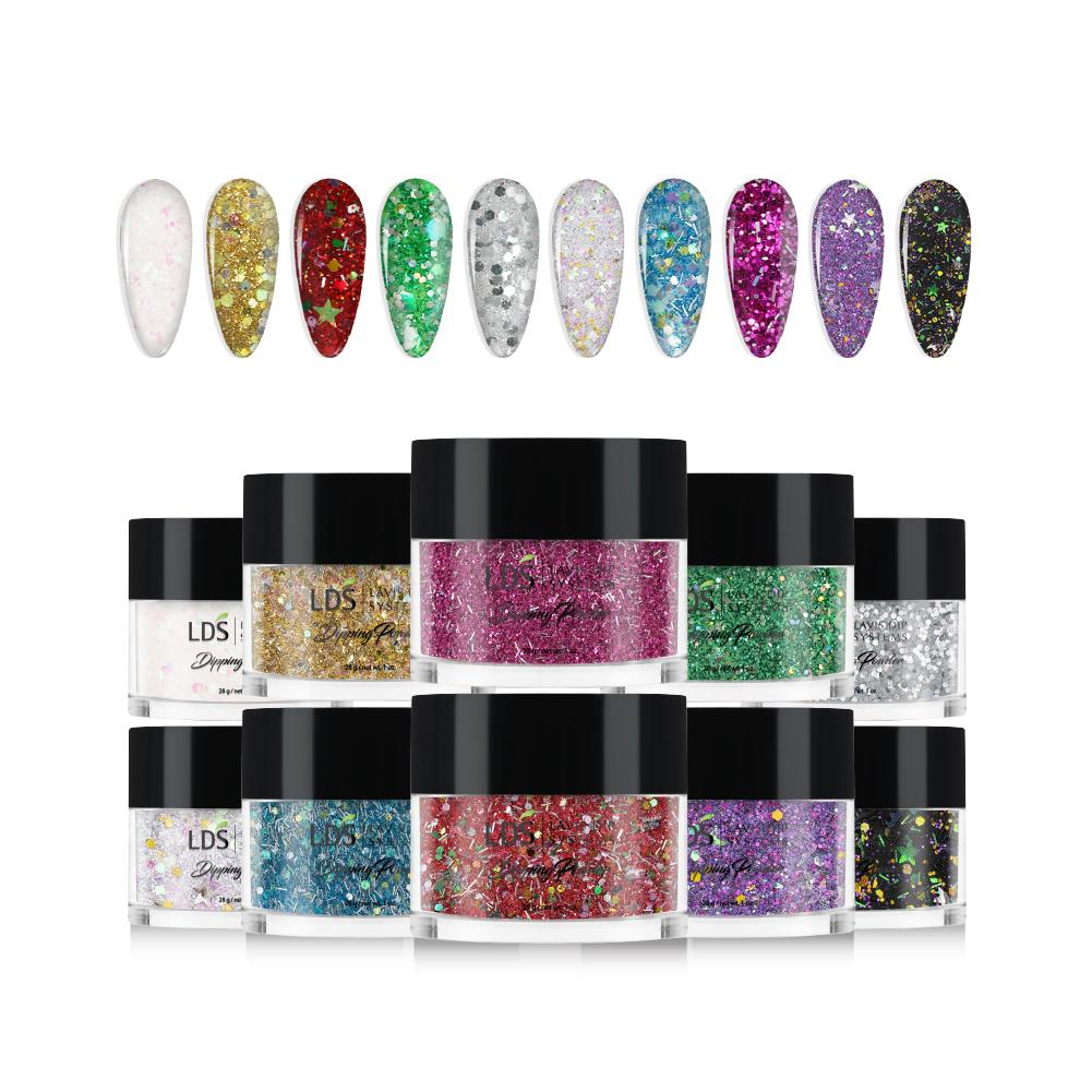 LDS Glitter Dipping Powder 1oz/ea (10 Colors): SC01, 02 Ver2, 03, 04, 05, 06, 07 Ver2, 08, 09 Ver2, 10