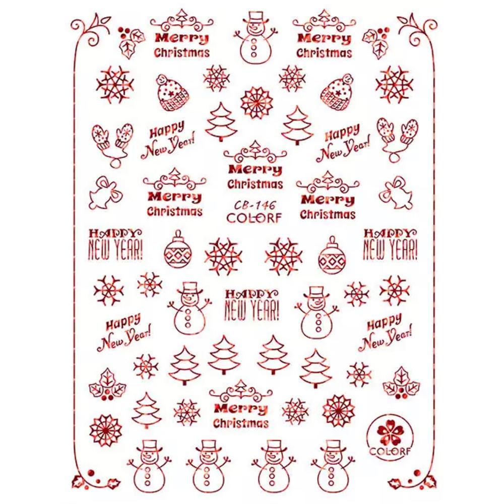 Red Lovely Christmas Patterns 3D Sticker 146