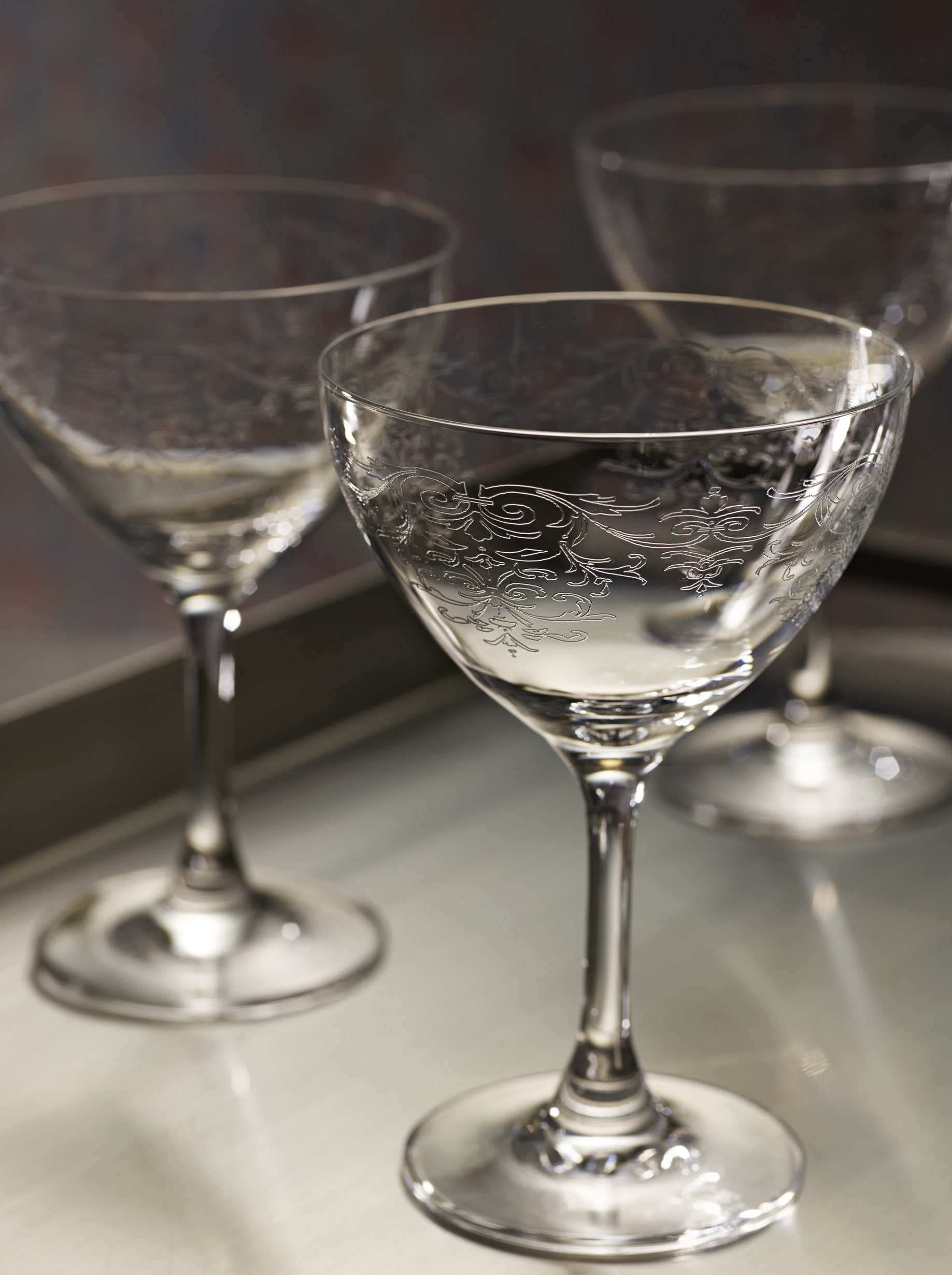 """Vintage Lace"" Martini Glass set of 6"