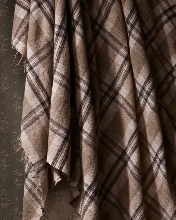 Butter Cashmere Plaid Throw in Smoke Mix