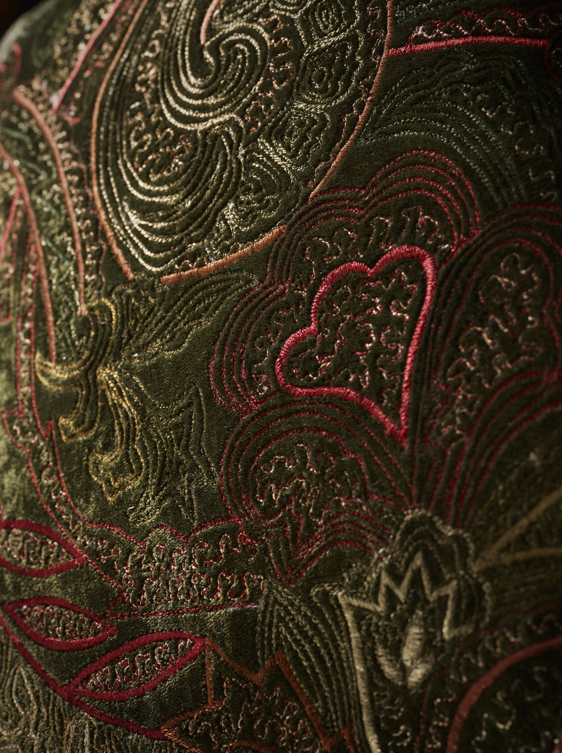 Paisley Silk Velvet Embroidered Cushion in Fern