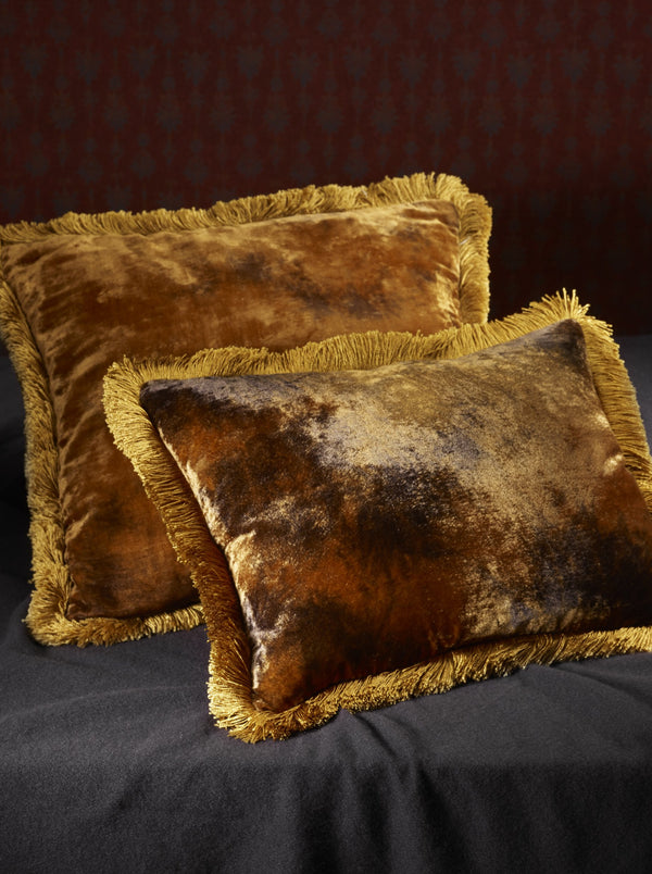 Silk Velvet Fringed Cushion in Amber