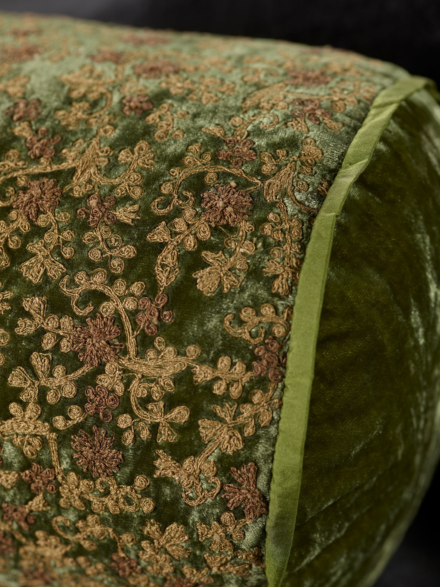 Byzantine Floral Silk Velvet Embroidered Cushions in Sage