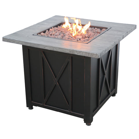 Endless Summer LP Gas Outdoor Fire Pit with 30-in Resin Mantel GAD1450SP