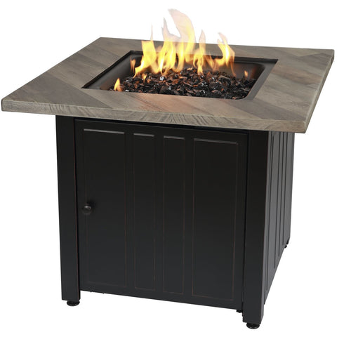 "Endless Summer The Harper, 30"" Square Gas Outdoor Fire Pit with Printed Cement Resin Mantel GAD15299ES"
