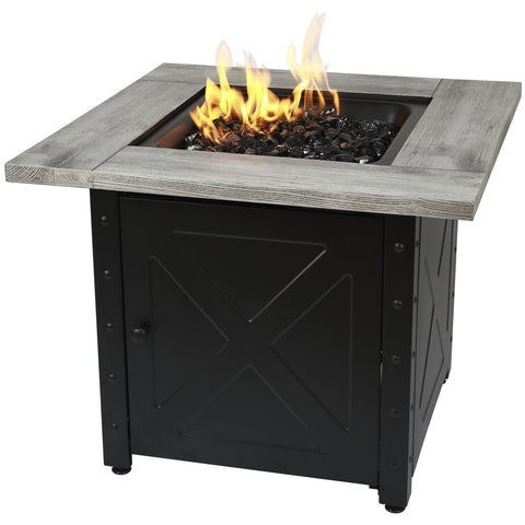 "Endless Summer The Mason, 30"" Square Gas Outdoor Fire Pit with Printed Wood Lat look Cement Resin Mantel GAD15300ES"