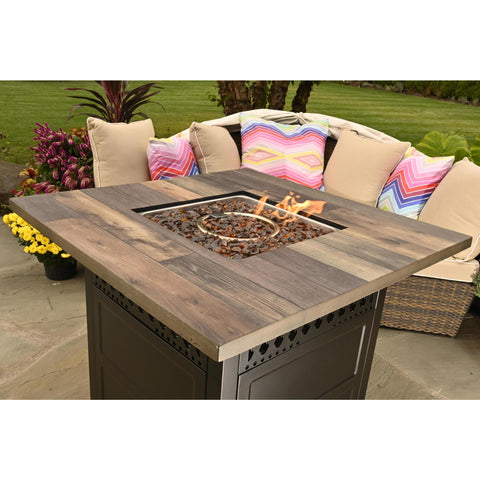 Endless Summer The Harris. Dual Heat LP Gas Outdoor Fire Pit/Patio Heater with Wood Look Resin Mantel GAD19103ES