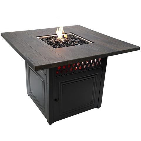 Endless Summer The Benjamine, Dual Heat LP Gas Outdoor Firepit/Patio Heater with Wood Look Resin Mantel GAD19106ES