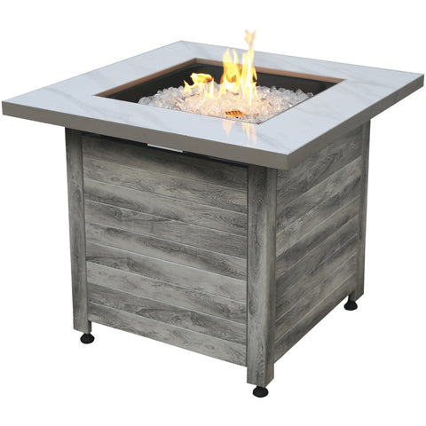 "Endless Summer The Chesapeake, LP Gas Fire Pit 30"" Faux Marble Top Faux Weather Wood Base GAD15274SP"
