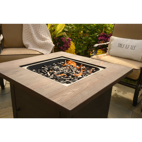 "Endless Summer The Spencer, 30"" LP Gas Outdoor Fire Pit with Printed Resin Mantel GAD15297ES"