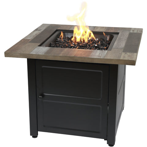 "Endless Summer The Cayden, 30"" Square Gas Fire Table with Printed Cement Resin Mantel GAD15298ES"