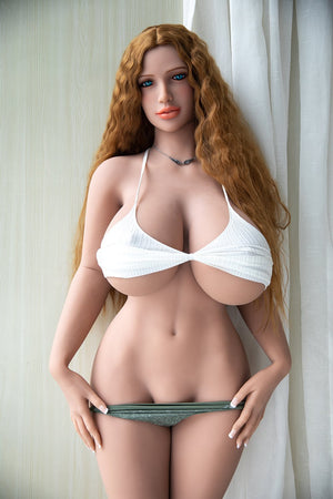 Jarliet 171cm M cup huge breasts orange long curly hair curvy sexy sex doll-Vicky - lovedollshops.com
