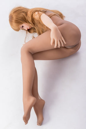 Sanhui 145cm flat chest Asian orange brown hair sex doll-Xiaoyou - lovedollshops.com