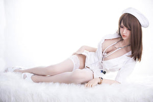 SanHui 158cm small breasts nurse brown hair silicone sex doll-Shiwei - lovedollshops.com