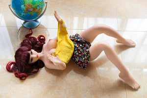 SanHui 88cm mini red hair silicone big boobs sex doll-Honghu - lovedollshops.com