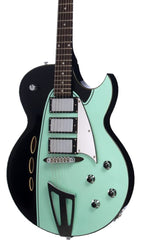 Eastwood Guitars Backlund Rockerbox Ebony Black and Mint Featured