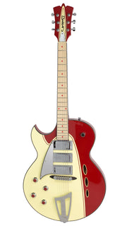 Eastwood Guitars Backlund Rockerbox LH Red/Creme Angled