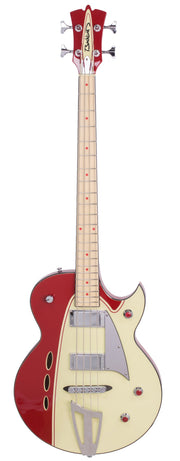 Eastwood Guitars Backlund Rockerbox Bass Red/Creme Full Front