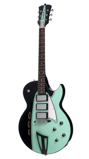 Eastwood Guitars Backlund Rockerbox Ebony Black and Mint Angled