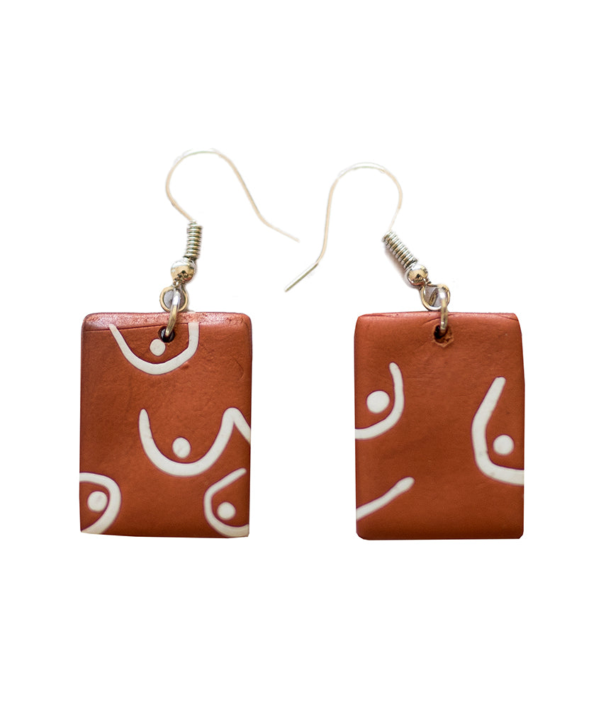 Tatas Earrings - Bronze/ white