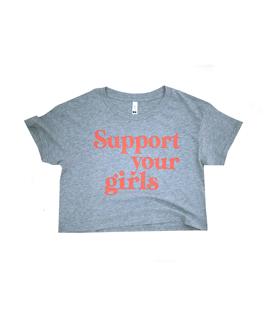 Support Your Girls Crop - Grey Marle/Rust