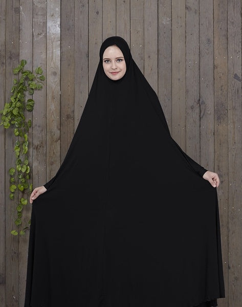 Muslim Women Batwing Sleeve Prayer Robe Thobe with Hijab Islamic Women Long Sleeves Maxi Robe Khimar Abaya Burquas