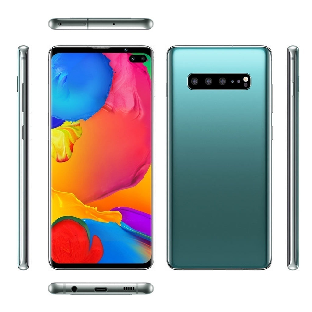S10+ with 6.1 Inch Mobile Smartphone Large Memory Full Screen 6+128 GB Android Smartphone Face Recognition Smartphone Dual Card Support T Card Smartphone