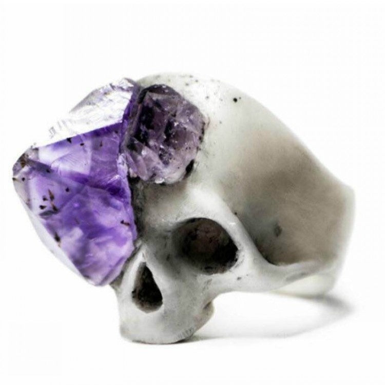 Trendy Men Womens Natural Stone Skull Ring with Purple Gem Fashion Haloween Accessories