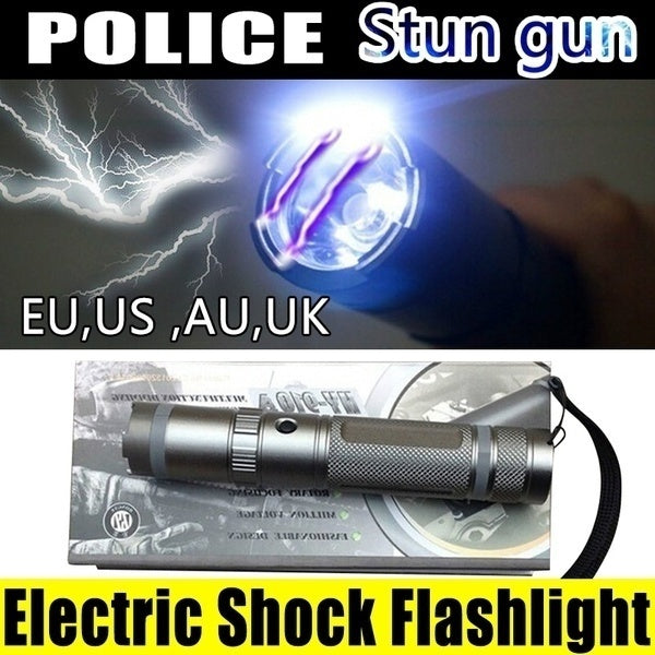 Police Electric Shock Stun Gun Rechargeable Compact WOMEN LED Stun Gun NEW FOR Girl Self-defense Tools Distance Outdoor Flashlight Mini Super High-voltage Super Bright Supplies
