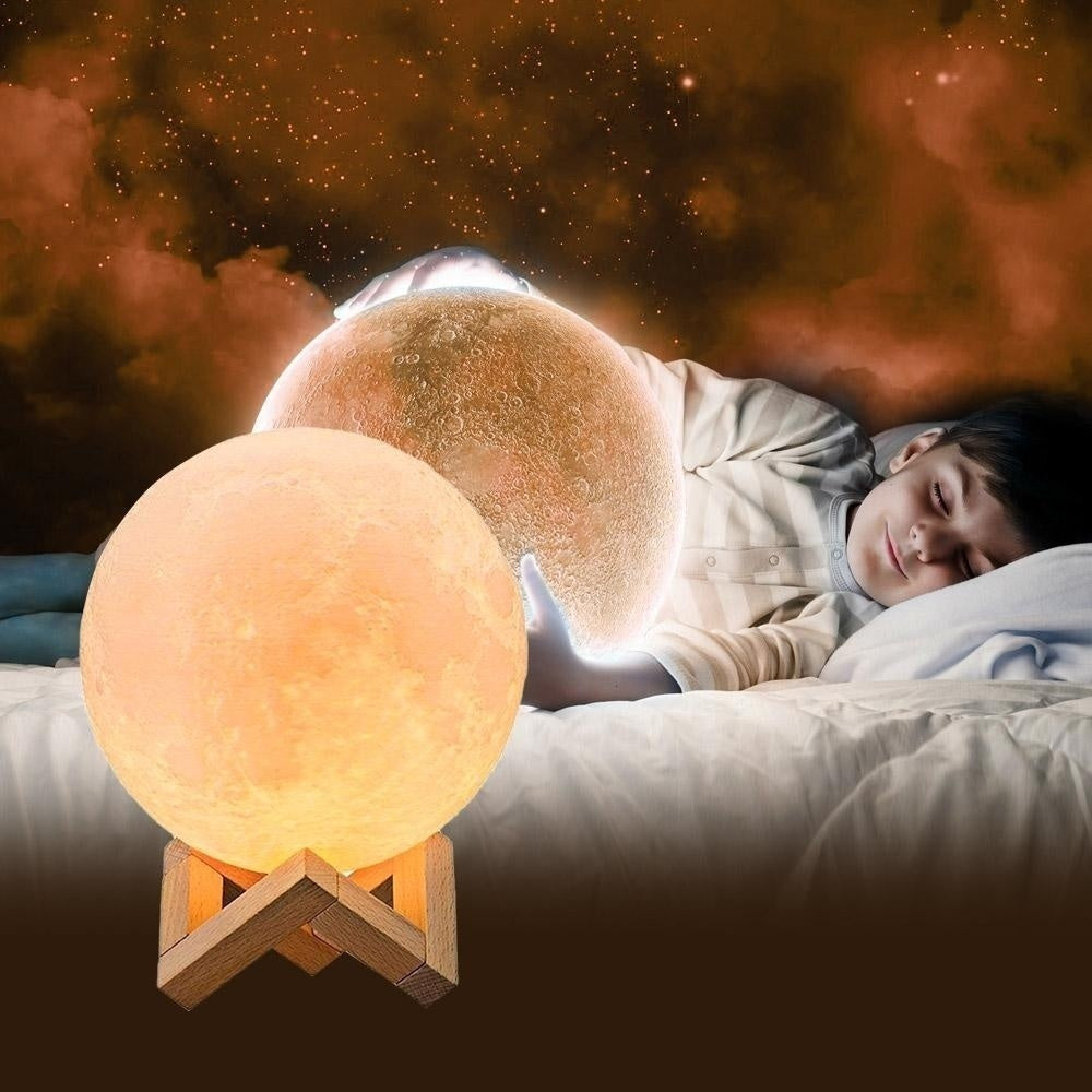 3D Moon Lamp 16 Color Changing USB Charging LED Night Light Remote Control Gift Christmas Decor